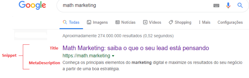 metadescription da página para SEO